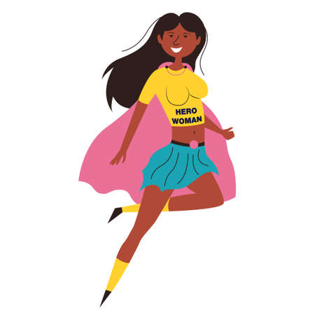 Black woman hero african american. African American achievements. A man with superpowers saves the world. Vector editable illustration