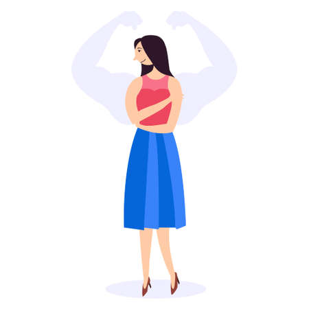 Weak woman with a silhouette of muscular arms. Strength and ability of women. International Womens Day. Feminism and gender equality. Vector editable illustration Иллюстрация