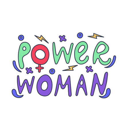 Lettering drawn by hand the power of women. Strength and ability of women. International Womens Day. Feminism and gender equality. Vector editable illustration