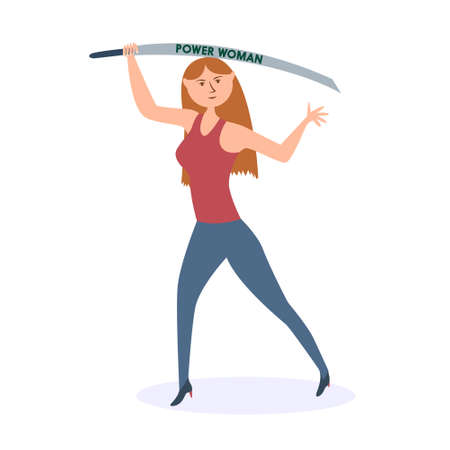 A strong woman with machete attacks. Gender equality and womens power. Vector editable illustration Иллюстрация