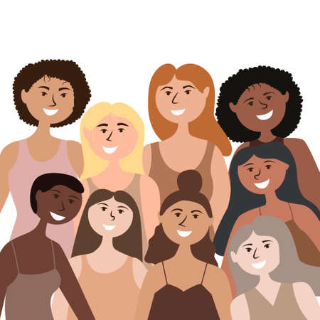 A group of strong and independent girls of different nationalities. Gender equality and womens power. Vector editable illustration