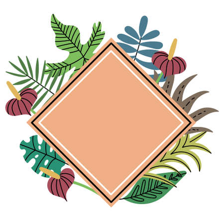 Diamond-shaped frame of tropical jungle plant. Peach rhombus frame. Exotic leaves. Vector editable illustration