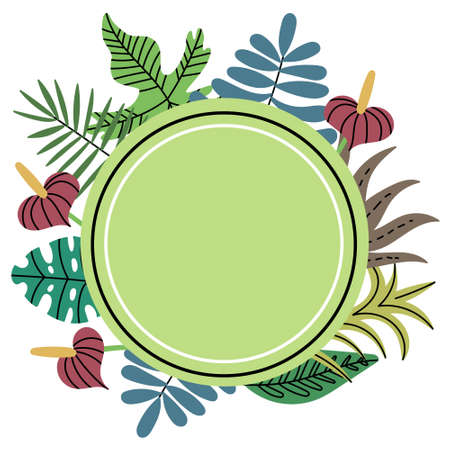 Circle shaped tropical jungle plant frame. Green circle frame. Exotic leaves. Editable Vector Illustration