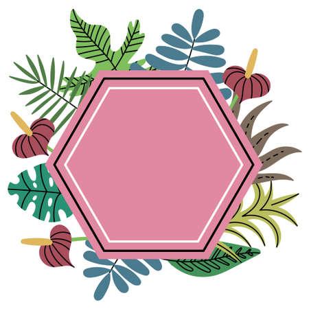 Polygon Jungle Tropical Plants Frame. Pink polygon frame. Exotic leaves. Editable Vector Illustration