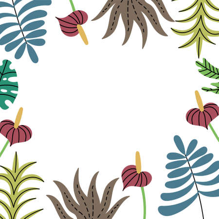 Frame of tropical jungle plants on the sides. Exotic leaves pattern. Editable Vector Illustration