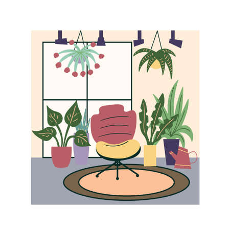 Green corner of potted plants in the modern interior of the apartment. A comfortable easy chair stands on a minimalist carpet in a room near a window surrounded by plants.Cozy room.Vector Illustration
