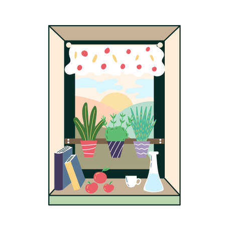 Greens on the kitchen windowsill. Green corner in the room. The cozy interior of the Windows in the room. Potted plant. Vector editable illustration