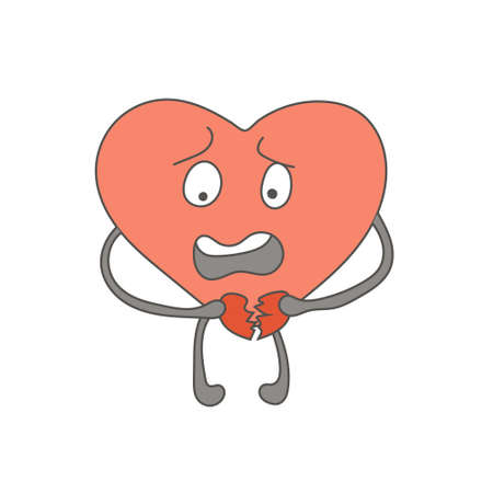 A shocked heart character destroys an attitude. Broken feelings. Valentine's Day. Hand-drawn character design. Vector editable illustration Illustration