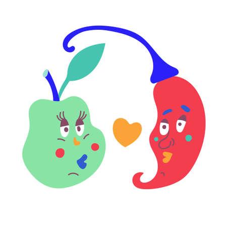 Loving couple of vegetables apple and chili pepper. Hand-drawn design. Vector editable illustration