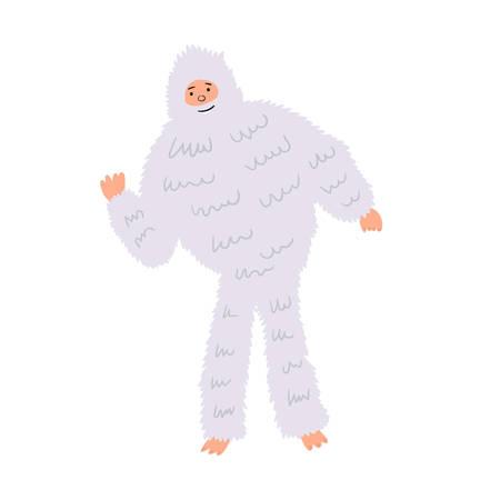 Shaggy Yetti Bigfoot snowman. Fairytale character hand-drawn design. Vector editable illustration Illusztráció