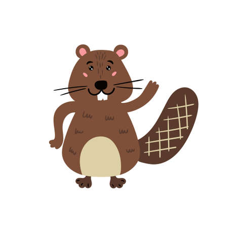 Cute beaver. Cheerful beaver. Childrens animal character. Vector editable illustration