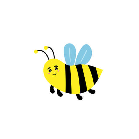 Cute bee. A cheerful wasp is smiling. Childrens character insect. Vector editable illustration