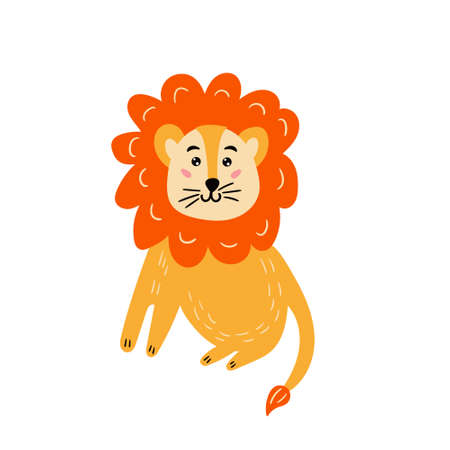 Cute bright lion. Cheerful lion cub is smiling. Children's character animal. Vector editable illustration Illustration