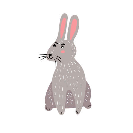 Cute gray hare. A cheerful rabbit is smiling with big ears. Children's character animal. Vector editable illustration Illustration