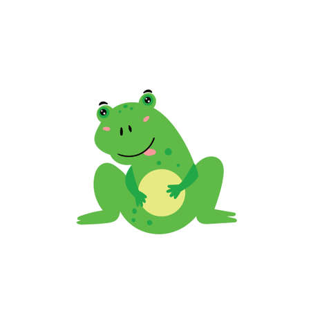 Cute green frog. A cheerful frog is smiling. Childrens animal character. Vector editable illustration Stock Illustratie
