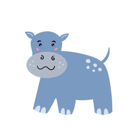 Cute hippo. The cheerful hippo smiles. Childrens animal character. Vector editable illustration