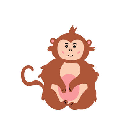 Cute monkey. Cheerful macaque is smiling. Children's animal character. Vector editable illustration