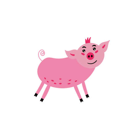 Cute pink pig. The cheerful pig smiles. Children's character animal. Vector editable illustration