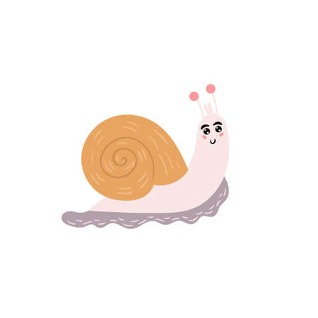 Cute snail. A cheerful snail is smiling. Children's animal character. Vector editable illustration