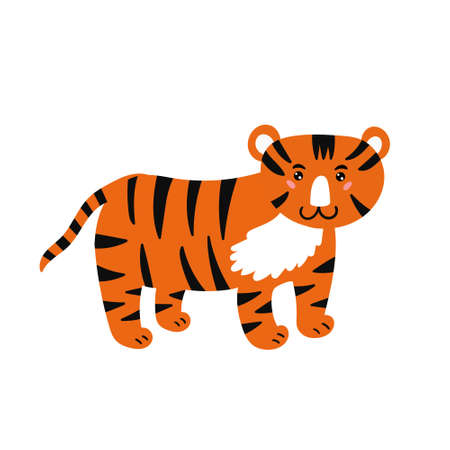 Cute striped tiger. The cheerful tiger smiles. Children's animal character. Vector editable illustration