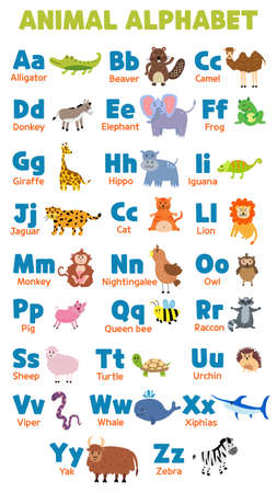 English vector alphabet animals. Editable set of English capital letters Foto de archivo - 142865956