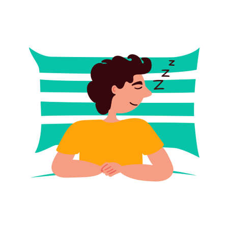 Guy sleeps on a soft pillow. Character design. Vector editable illustration