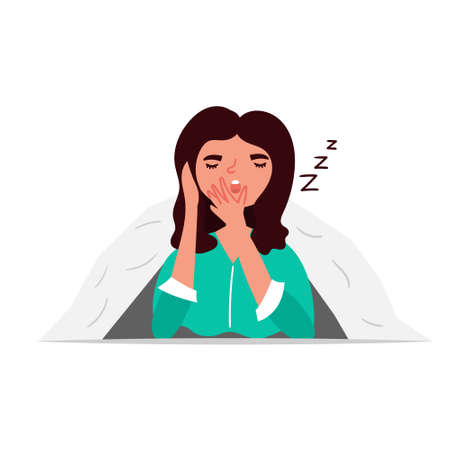 Girl yawns under the covers. Character design. Vector editable illustration