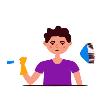 Mop guy getting ready for cleaning. Character design. Vector editable illustration
