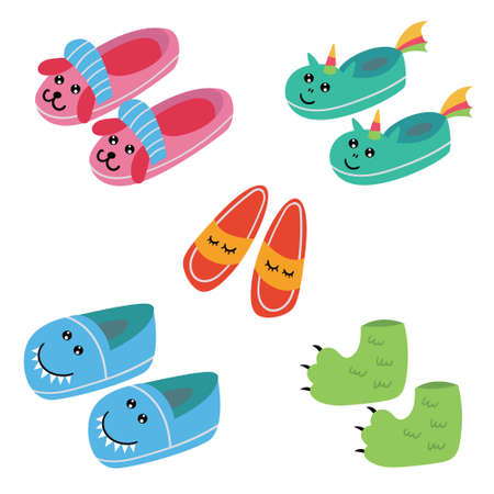 Set of funny kids pajama slippers. Pajama party. Vector editable illustration Ilustração