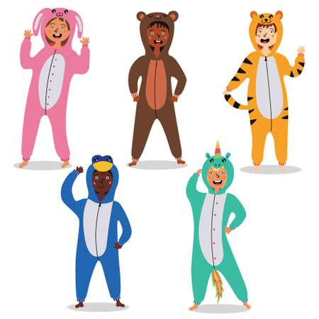 Children in kigurumi pajamas. Children's carnival costumes. Children's pajama party. Vector editable illustration Ilustração