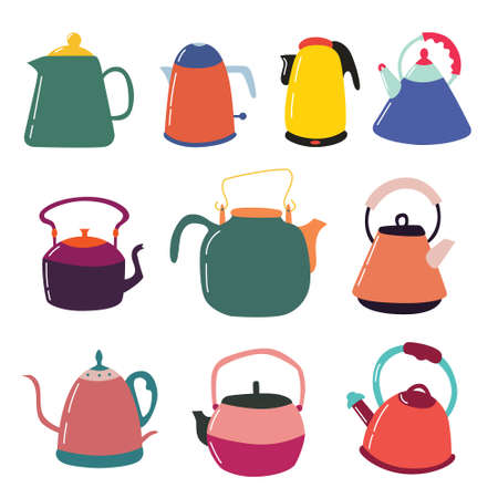 Set of custard kitchen teapots. Kitchen colorful appliances. Tea party. Vector editable illustration Ilustração