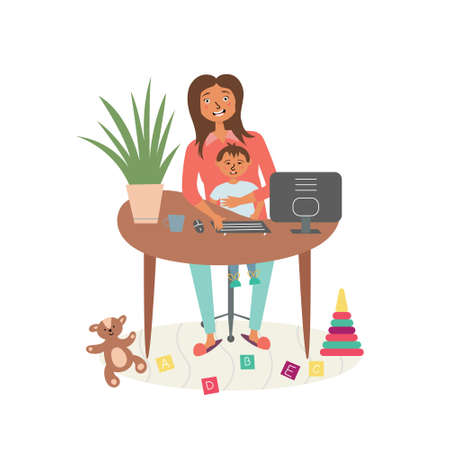 Mom with a child at a remote work. Freelance home. Home Office Interior. Home coworking. Vector editable illustration Ilustração