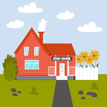Cozy House stay home. Summer house with a fence of sunflowers. Vector editable illustration