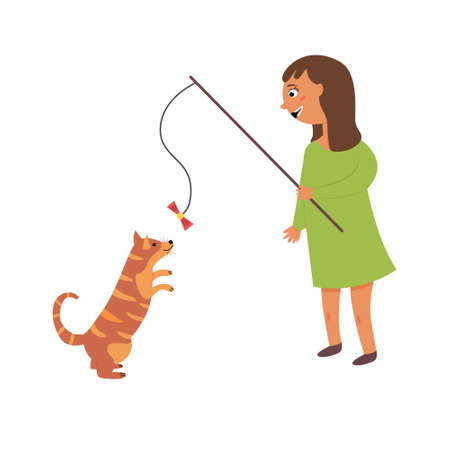 Girl playing with a cat. A game with a pet. The friendship of man and dog. Vector editable illustration