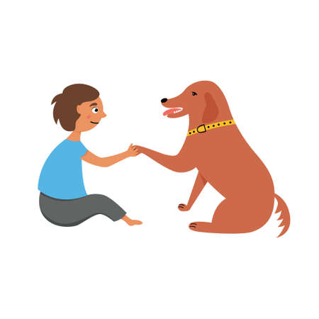 Dog gives paw to a child. A game with a pet. The friendship of man and dog. Vector editable illustration
