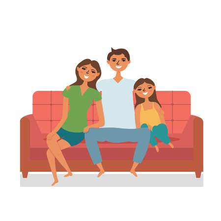 Happy family sitting on the couch watching tv. Cozy family circle Mom dad daughter. editable illustration