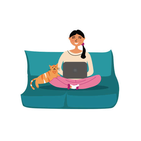 Freelancer girl sitting at a laptop at a remote work with a cat on the couch. Home office co working. Free work space. editable illustration Ilustração