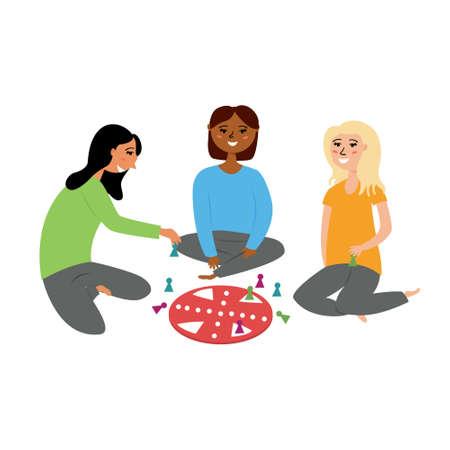 Girlfriends kids play a board game. Children activity game. editable illustration Ilustração