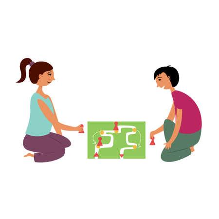 Children girl and boy play a board game. Children activity game. Vector editable illustration Ilustração