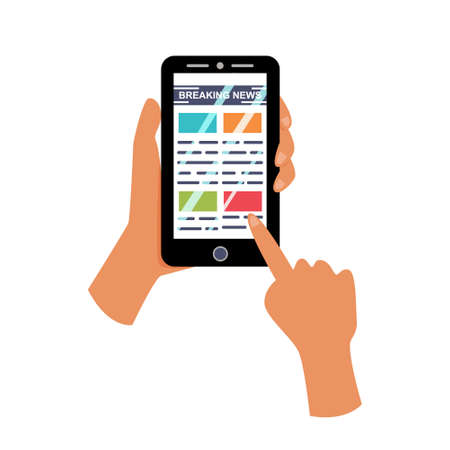 Reading news on the phone. Hands are holding a digital phone with the latest news on display. Editable Vector Illustration