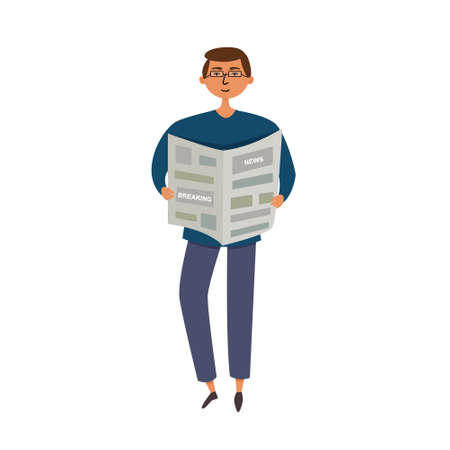 A man reads the news in the newspaper. The man in glasses is holding a black and white newspaper. editable illustration Ilustração