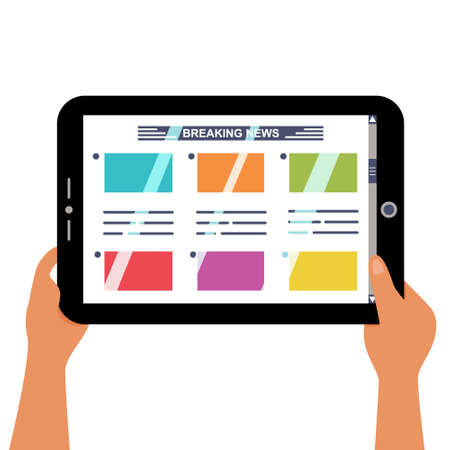 Reading news on a tablet. Hands holding a digital tablet with the latest news on display. Vector editable illustration