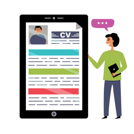 Digital resume in job candidates. The interview is conducted by an online HR manager. editable illustration Ilustração