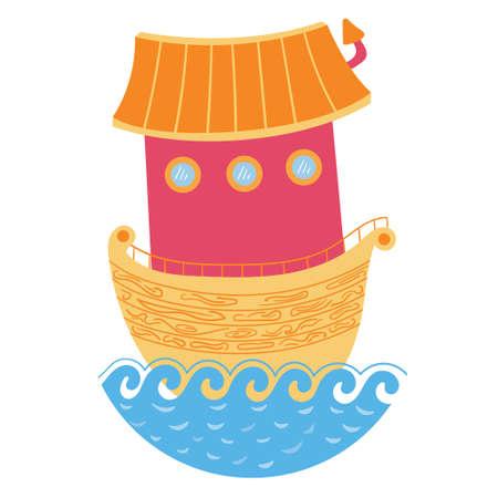 Vertical wooden ark. Boat ship with a house roof.  editable illustration Ilustração