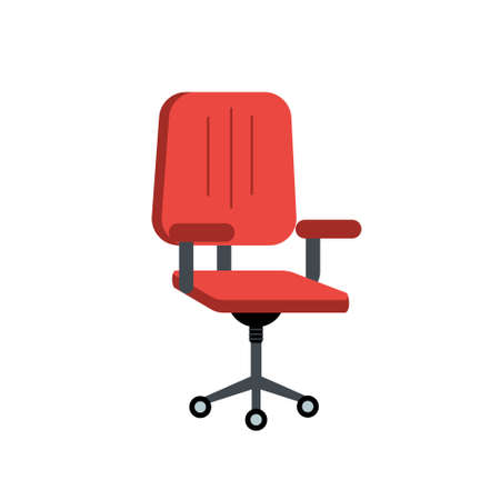 Red office chair. Work chair for open space. Vector editable illustration Ilustração
