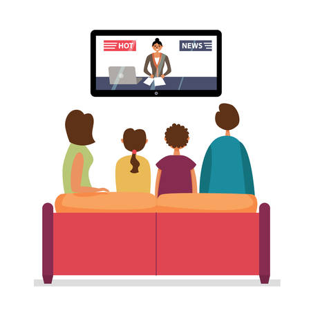 Family Watching TV News. Family evening watching the news. editable illustration