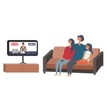 Family watching tv news in an embrace. Family evening watching the news. Vector editable illustration Ilustração