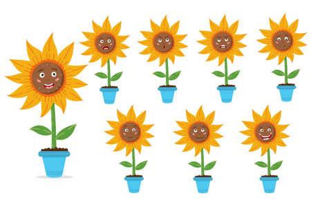 Set of sunflower in a pot. Sunny flowers with seeds. Set of emotions. Vector editable illustration Ilustração