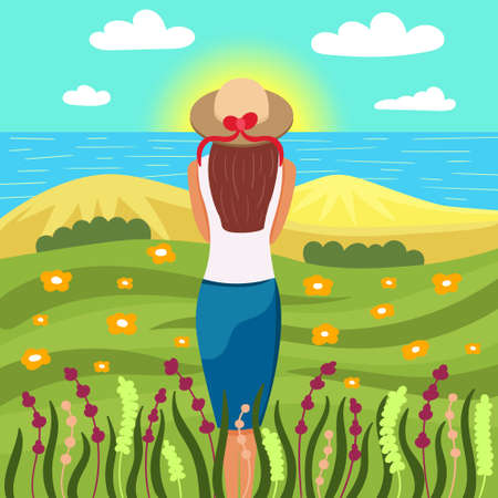 Girl meets the dawn in nature. Beautiful scenery of the sea, fields and sand. Man alone with nature. Editable Vector Illustration Ilustração