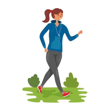 Girl runs in nature in a tracksuit. Man alone with nature. Outdoor activities and fresh air. editable illustration